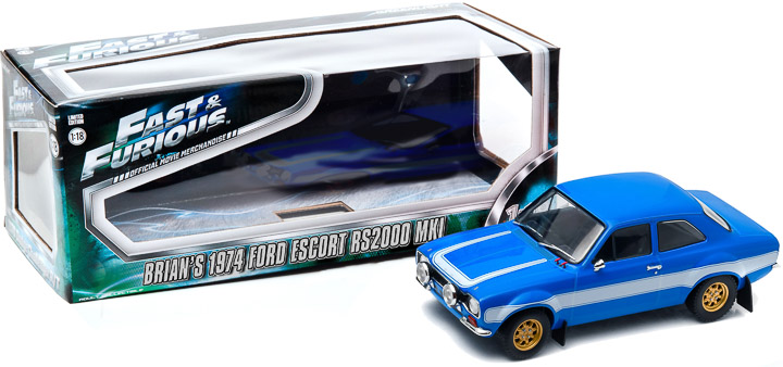 12800-BA - 1-18 Fast and Furious - 1974 Ford Escort RS2000 Mk1 - Furious 6 - Window Packaging (Car Outside, b2b)